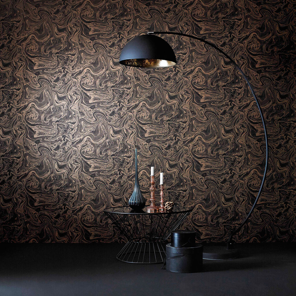 Marbled Charcoal And Rose Gold Wallpaper Graham Brown