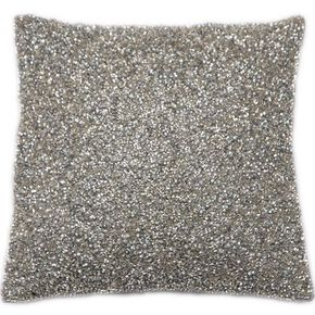 Glimmerous Silver Beaded Cushion, , large