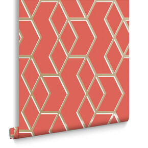 Archetype Coral & Gold Wallpaper, , large