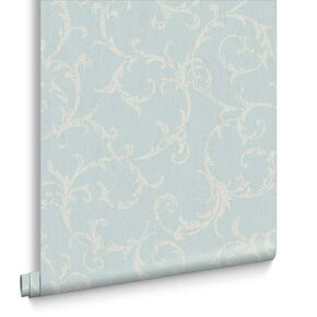 Empress Scroll Duck Egg Wallpaper, , large