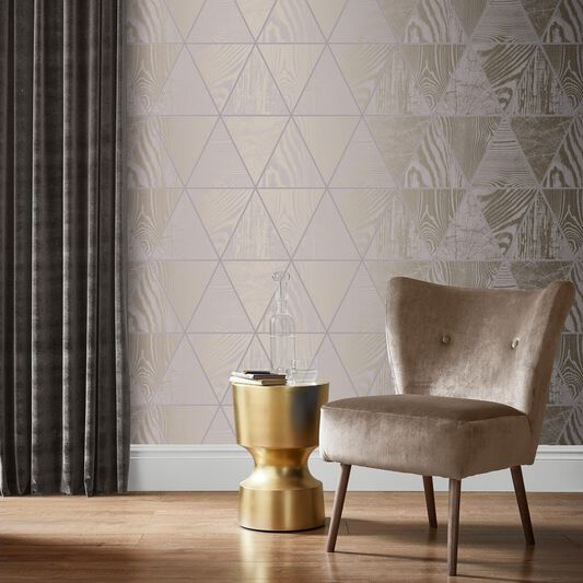 Geo Grain Ash Wallpaper, , large