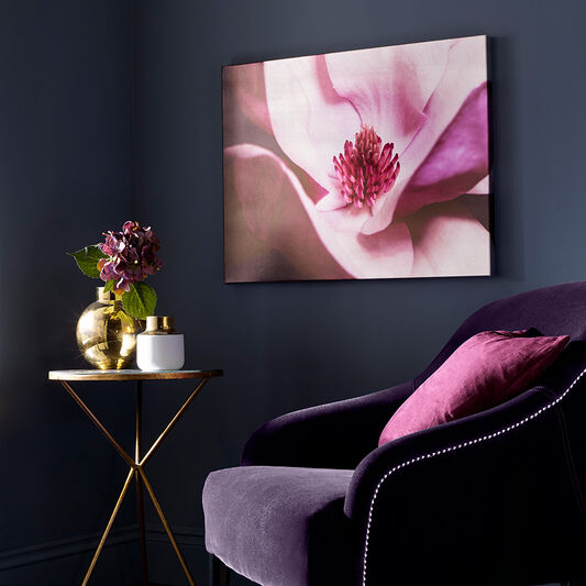 Metallic Plum Petals Printed Canvas Wall Art, , large