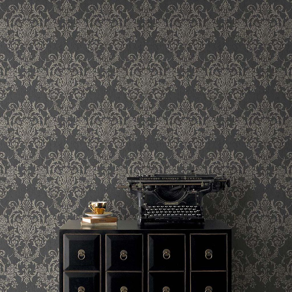 Victorian Damask Black & Gold Wallpaper, , large