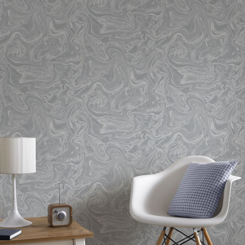 Marbled Grey and Silver Wallpaper, , large