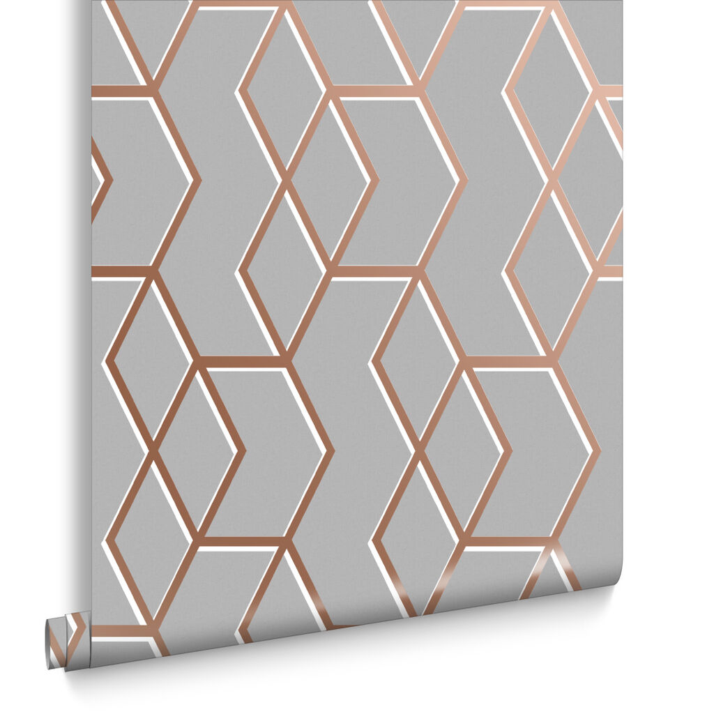 Archetype grey rose gold wallpaper grahambrownrow for Brewer designs bathroom accessories