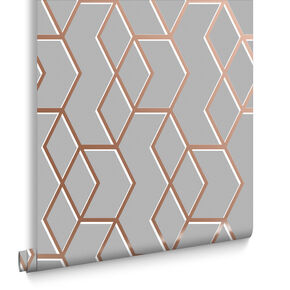 Archetype Gray Rose Gold Wallpaper