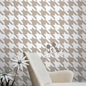 Papier Peint Mickey Houndstooth Taupe, , large