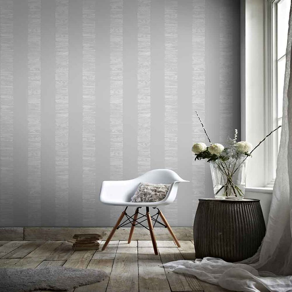 Mara Stripe Silver Wallpaper, , large