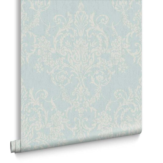 Victorian Damask Duck Egg Wallpaper, , large