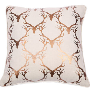 Stag Silhouette Metallic Bronze Cushion, , large