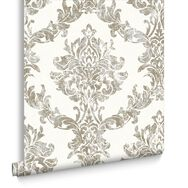 Opal Damask White & Gold Behang, , large