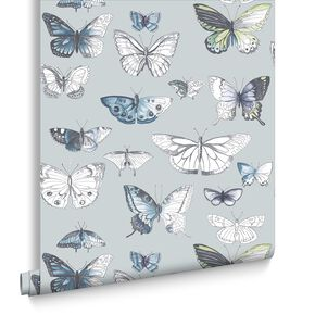 Butterflies Duck Egg Wallpaper, , large