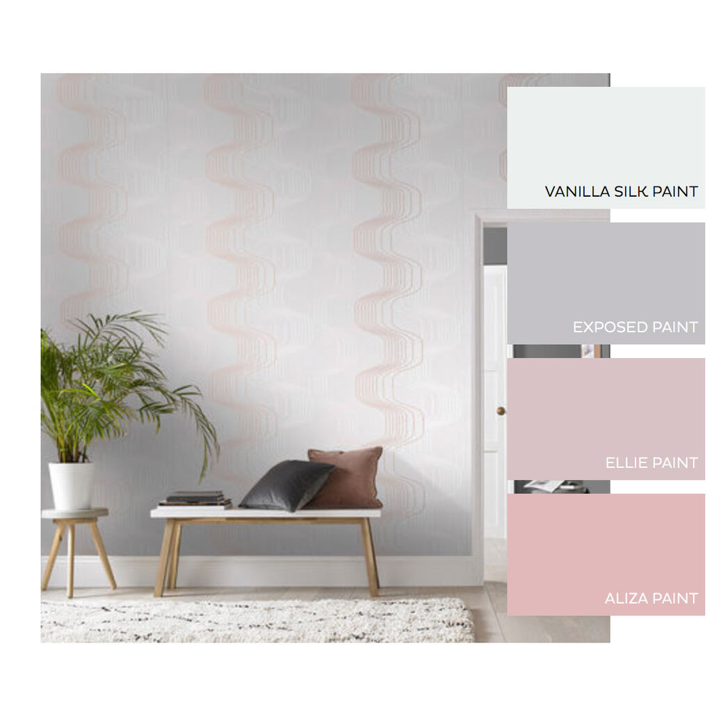 Revival Grey & Rose Gold Wallpaper, , large