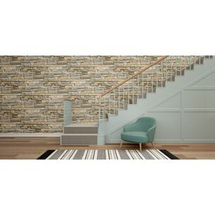 Ledgestone Grey and Terracotta Wallpaper, , large