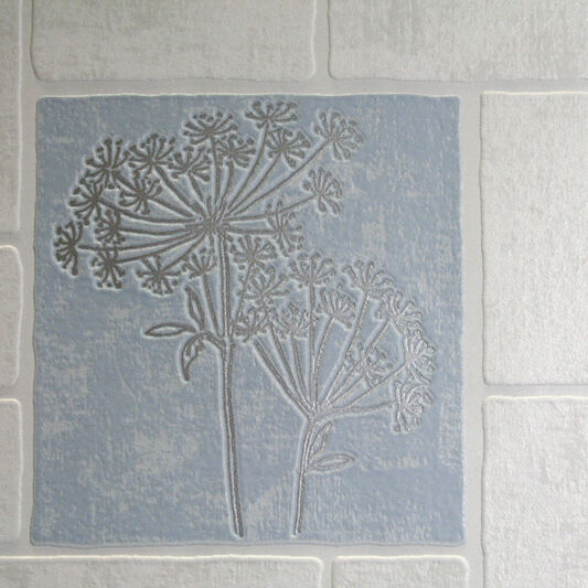 Parsley Blue and White Wallpaper, , large