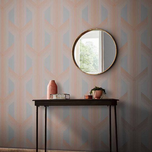 Lagom Geo Grey & Rose Gold Wallpaper, , large