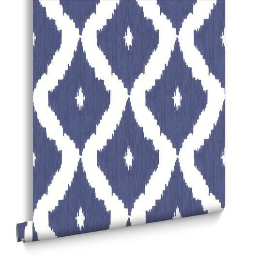 Kellys Ikat White And Prussian Blue Wallpaper Large