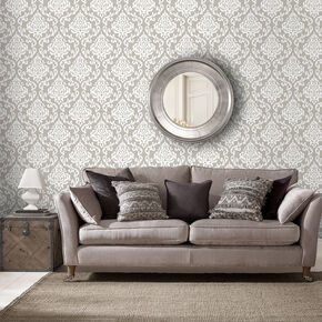 Indian Ink Damask Stone Wallpaper, , large