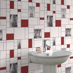 New York Tile Red and Black Wallpaper, , large
