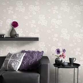 New England Rose Taupe Wallpaper, , large