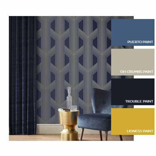 Lagom Geo Navy & Gold Wallpaper, , large