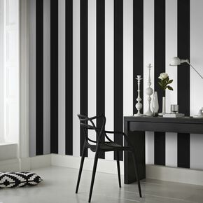 Rayure Black/White Wallpaper, , large