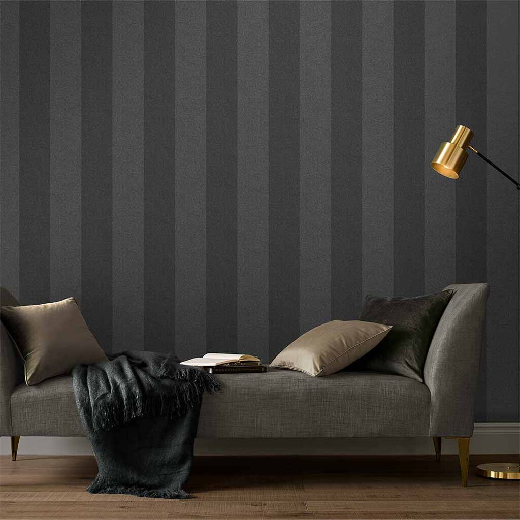 Heritage Stripe Charcoal Wallpaper, , large