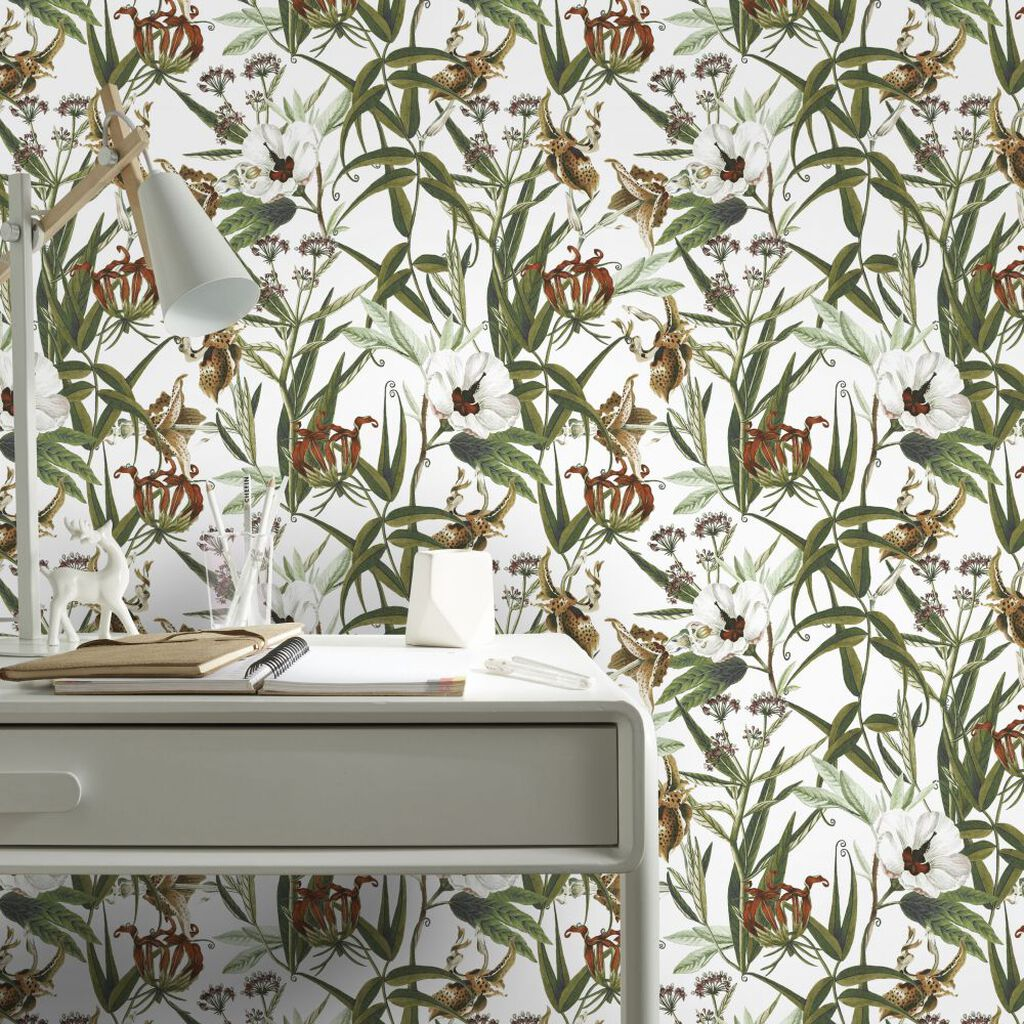Urban Floral Multicolour Wallpaper, , large