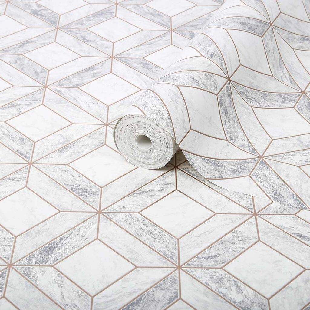 Marble Marquetry White Rose Gold Wallpaper Grahambrownus