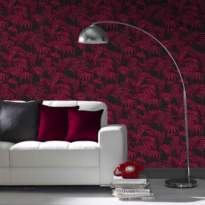 Honolulu Black and Fuchsia Wallpaper, , large