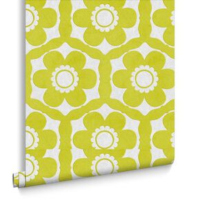 Funky Flora Lime & Ice Behang, , large