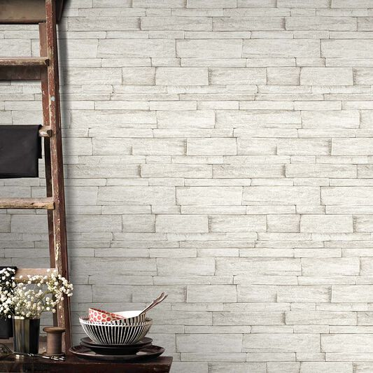 Ledgestone Beige Wallpaper, , large