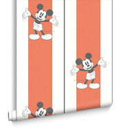 Mickey Pinstripes Orange Wallpaper, , large