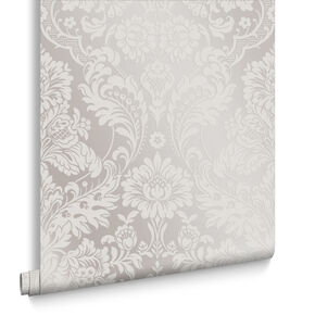 Gothic Damask Flock White Wallpaper