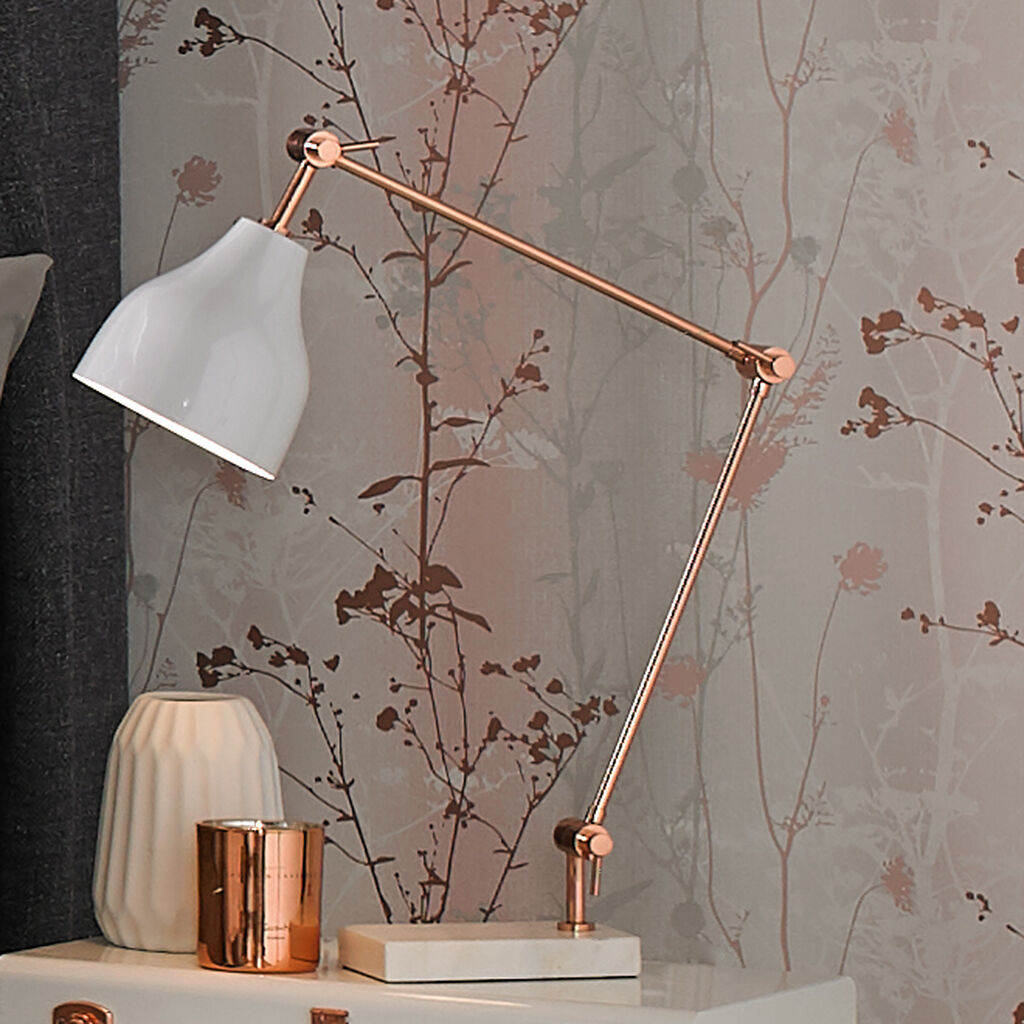 Attractive Rose Gold and Marble Desk Lamp - GrahamBrownUK IW57