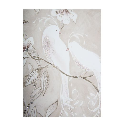 Love Bird Glitter Branch Printed Canvas Wall Art, , large