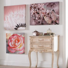 Pink Petal Rose With Glitter Printed Canvas Wall Art, , large