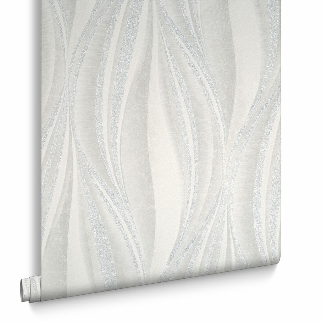 Tango White and Silver Wallpaper, , large