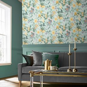 Flourish Duck Egg Wallpaper, , large