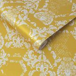 Geo Damask Yellow Behang