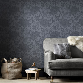 Jacquard Charcoal Wallpaper, , large