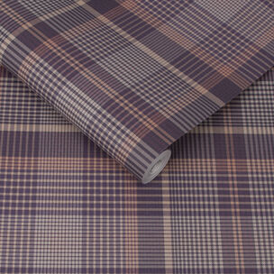 Heritage Plaid Plum Wallpaper, , large