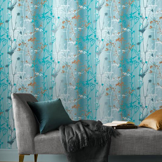 Wild Flower Teal Wallpaper, , large