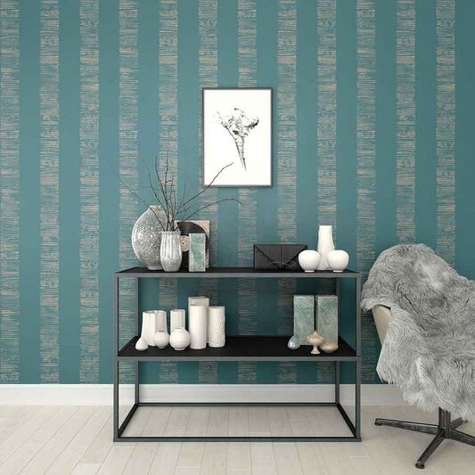 Mara Stripe Turquoise Wallpaper, , large