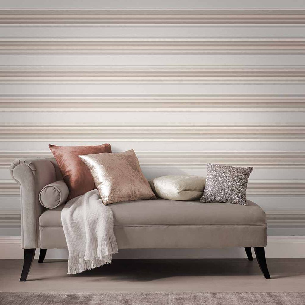Lagom Stripe White & Rose Gold Behang, , large