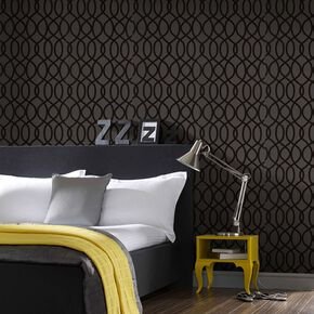 Knightsbridge Flock Noir Wallpaper, , large