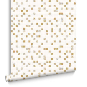 Aroura Tile White and Gold Wallpaper, , large
