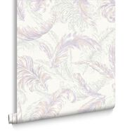 Gilded Feather Pink and Lilac Wallpaper, , large