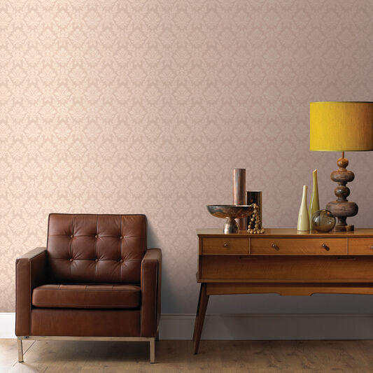Damask Beige Wallpaper, , large