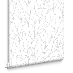 Willamena Silver & White Wallpaper, , large